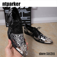 Wholesale iron man dress up - Italian Style Lace-up Men's Genuine Leather Shoes Business Dress Shoes Black White with Personality Iron Pointed Toe