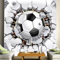 Atacado- Cool! Futebol Mural de foto Custom Any Size 3D Meninos Kids'Room Sofa Wallpapers Seamless Murals Rolls Wall TV Wall Background Home