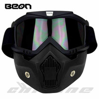 Wholesale helmet motorcycle beon - Wholesale- New Beon motorcycle helmet face mask dust mask with detachable Goggles Mouth Filter for modular Open Face moto Vintage Helmets
