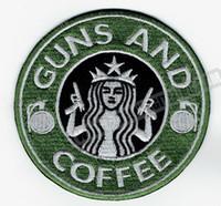 ingrosso pistola per indumenti-All'ingrosso GUN Coffee ricamato ferro sulla patch Tactical Morale Military Badge Qualsiasi indumento Gilet Rider Patch fai da te Applique Ricamo patch