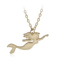 Wholesale Girl Swing Necklace - Wholesale-Valentine's Day Gift Tiny Cute Girl Swing Danity Simple Girl Mermaid Pendant Necklaces Necklaces For Women Girls