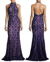 Wholesale Trumpet Silhouette Dress - royal blue beaded lace mermaid prom dresses 2017 halter neckline Scalloped cut-in shoulders trumpet silhouette evening gowns