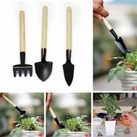 3Pcs / 1set Plant Gardening Shovel Spade Rake Trowel Wood Handle Metal Head Gardener Mini jardin outil à outils