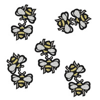 Wholesale Bee Clothes - 10PCS Bee patches for clothing iron fashion embroidery patch for clothes applique sewing accessories stickers badge on clothes iron on patch