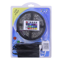 Wholesale Dc12v Power - DC12V 5050 RGB LED Strip Set 60LED m 5M LED tape + 3A power supplt + 44Key RGB LED Controller