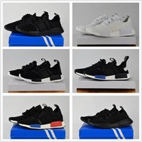 Unisex sports meshes high - 2017 Discount Cheap NMD Runner Primeknit White Red Blue NMD Runner Sports Shoes Men Woman High Quality NMD Running Boost With Box