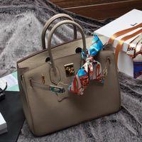 el çantası deri orijinal markalı toptan satış-Kaliteli Kadın Çanta Hakiki Deri Omuz Çantası Moda Çantalar Lady 25/30/35 cm Ünlü Markalar Tasarımcı Büyük Büyük Gri Çanta totes çanta