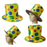 Wholesale Carnival Clown Hat - Clown Hat Magician High Hat Halloween Color Dot Party Performance Show Props Acrobatic Caps Carnival Funny Costume Ball Funny