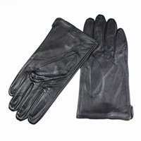 Wholesale fingerless opera gloves black - Wholesale- 2017 Eldiven Leather Gloves Men's High-grade Quality Imported Sheepskin Without Lining Straight Style Car Spring And Autumn