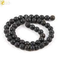 vergünstigte perlen großhandel-CSJA Rabatt 8mm Pure Black Perlen Lava Rock Lose Natürliche Heilung Stein Perlen für Die Herstellung Männlichen Weiblichen Halskette Armband Schmuck DIY E193 C