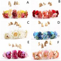 Wholesale Orchid Headbands - Bohemia bride garlands womens golden feather flowers headdress tourism photography hair accessories garlands orchid headband T0308