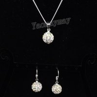 Wholesale Disco Ball Tone - AB Clear Disco Ball Pendant Earrings And Silver Tone Necklace Crystal Jewelry Set 10 Sets Wholesale