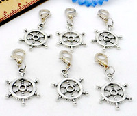 150Pcs / lot Tibetan Silver Rudder volante Charms lobster Clasp Dangle Pendant para Jóias Making Diy 34x15mm