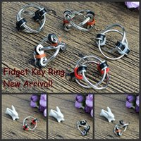 Wholesale Sporting Key Ring - New! Fidget Spinners Key Ring metal gyro toy fidget toy Professional EDC stress release toy Hand Spinner fidget key chain Different Colors