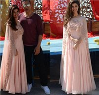 Wholesale Indian Occasion Dresses - Arabic Kaftan Pink Applique Women Evening Dresses With Sheer Cape Beads Chiffon Formal Gowns Indian Long Prom Party Dress 2017 Free shiooing