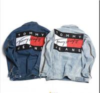 Wholesale Men S Formal Coats - hot sale ! Men US Street Original Denim Jackets Zipper Unisex Big Flag Box Logo Jacket Hip Hop Mens Urban Clothing Streetwear Coat