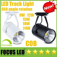 Wholesale Dimmable Cob Led Track Light - Led Track Light CREE 9W 12W 15W 18W 24W Dimmable COB LED Downlights CRI>88 Fixture Ceiling Spot Lights Lamp+ Driver Warm Cool Natural White