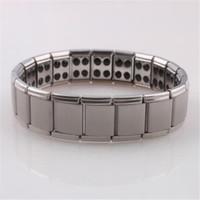 germanium magnetische armbänder großhandel-Germanium stones titanium edelstahl armband gesundheitswesen armband zubehör magnetische heißer verkauf schmuck versandkostenfrei