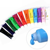 Wholesale Acrylic Colors For Drawing - Wholesale- 12 Colors 3D Nail polish uv gel acrylic Paint for nails abstract Tube Pigment Draw art Painting OUMAXI nail Acrylic paint set