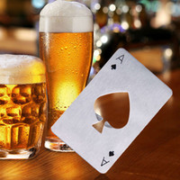 Wholesale Hot Poker - Hot Sale 200PCS Stylish Poker Playing Card Ace of Spades Bar Tool Soda Beer Bottle Cap Opener Gift