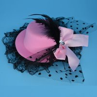 Wholesale Mini Top Hat Party Decorations - BLACK Lady Feather Bow Hair Clip Lace Mini Top Hat Party Cosplay Hair Clips Fancy Dress