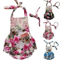 Wholesale Dress Lace Rompers Baby Girl - Newborn Infant Baby Girl clothing Backless Floral Ruffles Rompers Dress Sleeveless Romper Headband Jumpsuit toddler Outfit Playsuit for girl