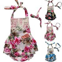 yeni doğan ruffle elbiseleri toptan satış-Yenidoğan Bebek Kız bebek giyim Backless Çiçek Ruffles Tulum Elbise Kolsuz Romper Kafa Tulum toddler kız için Kıyafet Tulum