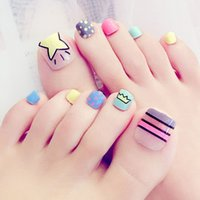Wholesale Toe Nail Art Flowers - New Toe 1 Box 24 Piece False Nails Finished Multicolored Flowers Feet Nails Art Fake Nail Patch cute Sweet Style Tool