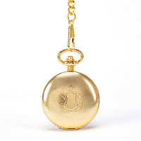Wholesale Key Wind Watch - Mechanical Automatic Self - Wind Round Gold Shield Pendant Pocket Watch With Key Chain Necklace Men Luxury Gift Suits Watch