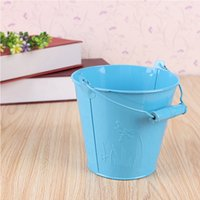 Wholesale Iron Pots Holder - 10PCS gardening Small flower bucket Iron Kegs Portable Flower Pots Pots Balcony Hanging Planter Iron Bucket Holders
