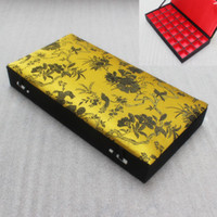 Wholesale High End Ring Boxes - High End 32 Grid Silk Brocade Box Wood Multi Slot Jewelry Storage Case Earrings Rings Pendant Packaging Boxes Wedding Party Gifts