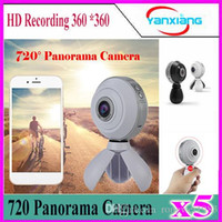 Wholesale 5pcs720 Panorama Camera HD Recording Degree Double Fish Lens Wifi GPS Sports Action Cam VR Mini Cameras YX PC