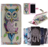 Wholesale Iphone Cover Colours Leather - Fashion Coloured Drawing Pattern Magnetic Stand Holder Side Flip PU Leather Wallet Cover for Iphone 6 6s plus 7 7 plus Samsung S6 S7 Edge