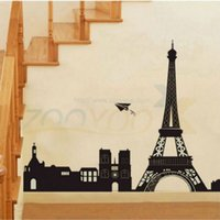 Wholesale I Love Paris Wall Decal - * I love Paris Eiffel Tower Decal removable Waterproof decorative adesivo country parede pvc wall art sticker wall home decor
