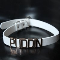 Wholesale Silver Neck Collar Wholesale - Harley Quinn PUDDIN Choker Suicide Squad PU Collar Neck Necklace Halloween Cosplay Choker Pop Culture Letter Necklace