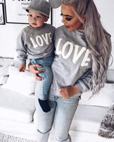 Wholesale Sweater Mother Daughter - 2017 Autumn Winter Family Matching Sweatshirt Sweaters Mom Mother and Baby Daughter Clothes LOVE Pringing Mama Family Clothing