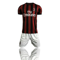 Wholesale Home Casual - 2017 2018 AC Milan home soccer kits thai quality football jerseys and shorts men's outdoor casual sets short sleeve sports uniform tracksuit