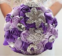 bouquets personnalisés achat en gros de-Gros-Livraison gratuite magnifique mariage Bouquets de mariée élégante perle mariée demoiselle d'honneur mariage bouquet cristal éclat d'accepter personnalisé