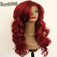 Wholesale Bangs Lace Wig Red - Bombshell Long Body Wave Mix Red Color Synthetic Lace Front Wig Glueless Heat Resistant Natural Hairline With Bangs For Black White Women