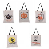 Wholesale Hanging Canvas Bags - Halloween Gifts Sack Bag Large Canvas Cotton Folding Portable Container Trick Or Treat Spider Pumpkin Pattern Bags Factory Direct Sales R