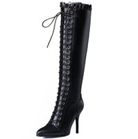 Wholesale Thigh Boots Cross - Wholesale- women winter boots high heel shoes woman 2015 fashion cross strap lace up zipper thigh knee high black long real leather boots