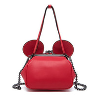 Wholesale Small Ears Cartoons - Wholesale- Fashion Red Color Mini Shell Top-Handle Bags Cute Mouse Ears Cartoon Tote Women's Small Chain Crossbody Bags For Girls