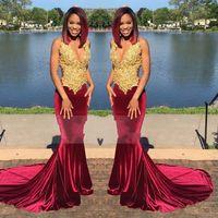 Wholesale Velvet Queen - New Arrival Long Elegant Burgundy Prom Dresses 2017 Mermaid V-neck Top Gold Lace Floor Length African Velvet Prom Dress Queen
