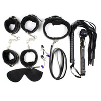 Wholesale Necklaces Bdsm - BDSM Bondage Set Adult Game 7in1 with Eyepatch Necklaces Mouth Gag Handcuffs Wrist Ankle Cuffs Whip Erotic Positioning Bandage Kits J-19