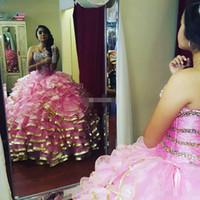 Wholesale Short Sleeve White Debutante Gowns - Custom Made Pink Sweet 16 Quinceanera Dresses Sweetheart Ruffle Train Corset Back Beading Vestidos De 15 Anos Debutante Gowns Plus Size 2017