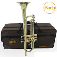 Wholesale Bach Tr - wholesale Bach TR 800G Bb Trumpet Instruments Gold and Silver Lacquer Plated Brass Musical Instrument Bb Trumpet Professional