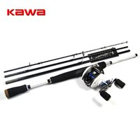 Wholesale Baitcast Left Hand - Wholesale- KAWA 1.8m 4 Sections ML Lure Fishing Rod Combo with 10 BB Baitcast Reel Right   Left Hand White Color Bass Perch Fishing Tackle