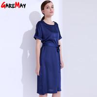 Wholesale Casual Dress For Large Women - Satin Dress Women Elegant Large Sizes Blue Dress Vestido De Festa O-Neck Bow Office Dress For Women Female Clothing GAREMAY