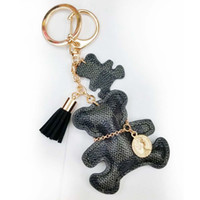 Wholesale trendy fashion accessories wholesale - New fashion Key Chain Accessories Tassel Key Ring PU Leather Bear Pattern Car Keychain Jewelry Bag Charm