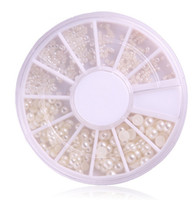 Wholesale Size Clear Tip - Wholesale-New One Wheels 3d Nail Art Pearl 4 Size 1.5 2 3mm Clear Ceramic New Arrival Tips Decorations Nail Art Rhinestones Nail Tools